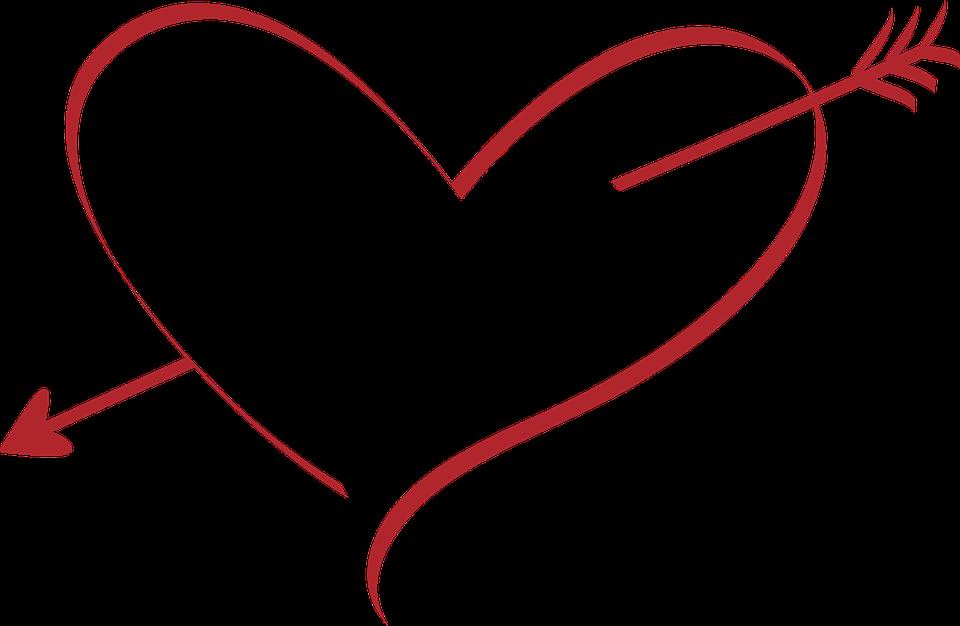 Hjerte, Kære, Bryllup, Amor, Arrow, Rød, Gennemboret - PNG Hjerter Bryllup