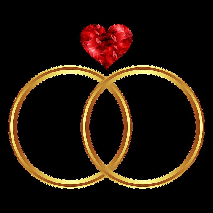 Hjerte, Ring, Ikon, Guld, Kærlighed, Bryllup - PNG Hjerter Bryllup