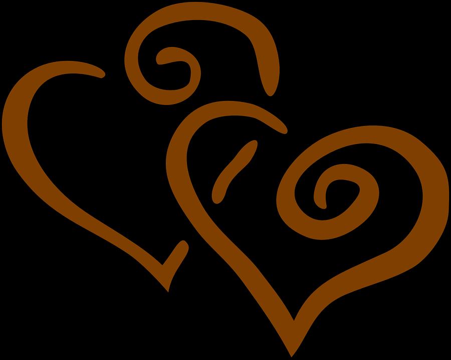 Hjerter, Brun, Sammen, Bryllup, Elsker, Slutte, Hvirvel - PNG Hjerter Bryllup