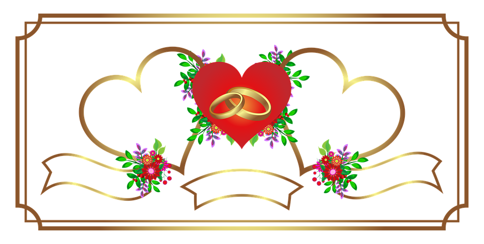 Invitation, Bryllup, Hjerte, Guld, Tillykke, Ferie - PNG Hjerter Bryllup