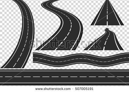 Set of new asphalt roads, vertical and horizontal roads, highway, vector  eps10 illustration - PNG Horizontal Road