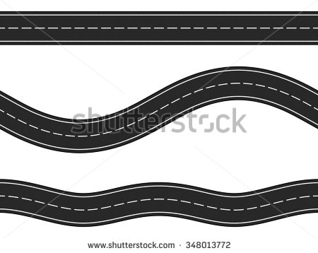 Three horizontal asphalt roads on white background, vector eps10  illustration - PNG Horizontal Road