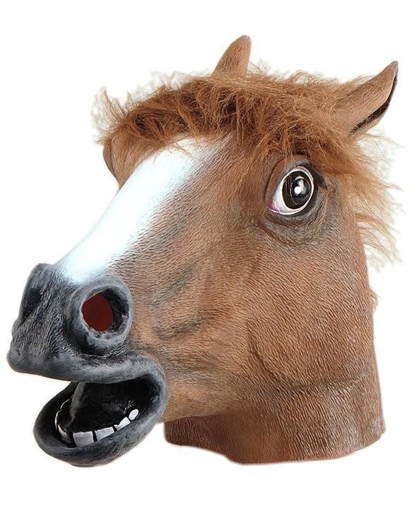 Head Mask - Rubber Horse Head Brown, fur mane - PNG Horse Head