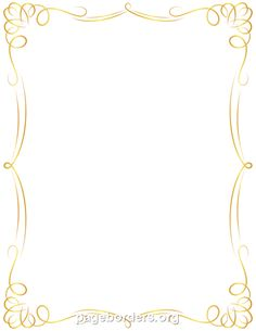 Free golden border templates including printable border paper and clip art  versions. File formats include GIF, JPG, PDF, and PNG. - PNG Invitation Borders