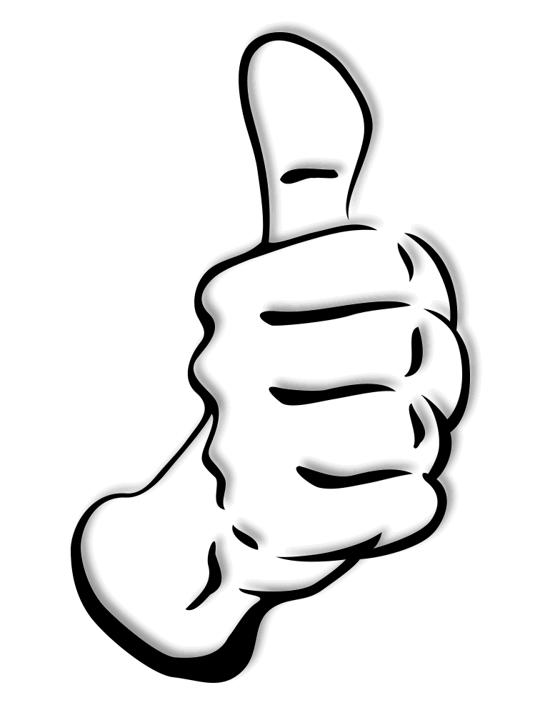 Thumb Up Full Page BW Clip Art Download - PNG Jempol