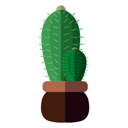 Flat 2 cactus pot drawing - PNG Kaktus