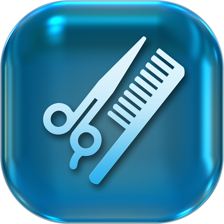 Icons, Symbole, Friseur, Kamm, Schere, Knopf - PNG Kamm Und Schere