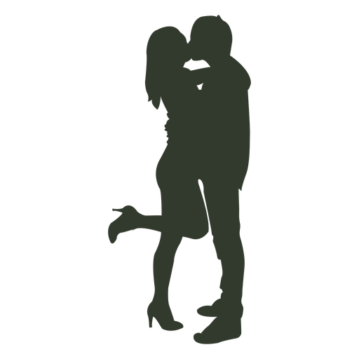 Couple kissing silhouette hihills - PNG Kissing Couple
