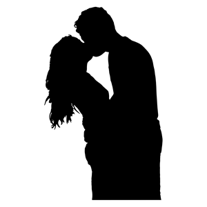 free vector clipart Kissing Couple Silhouette - PNG Kissing Couple