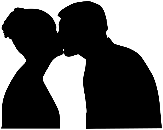 kiss couple silhouette - /peo