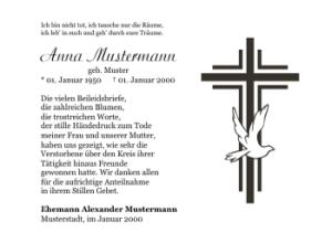 Danksagungskarten - PNG Kreuz Trauer