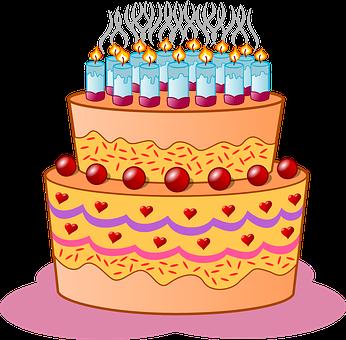 Fødselsdag, Kage, Stearinlys, Glasur - PNG Lagkage Med Lys