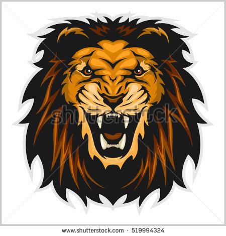 Lion head vector illustration on white background - PNG Lion Head Roaring