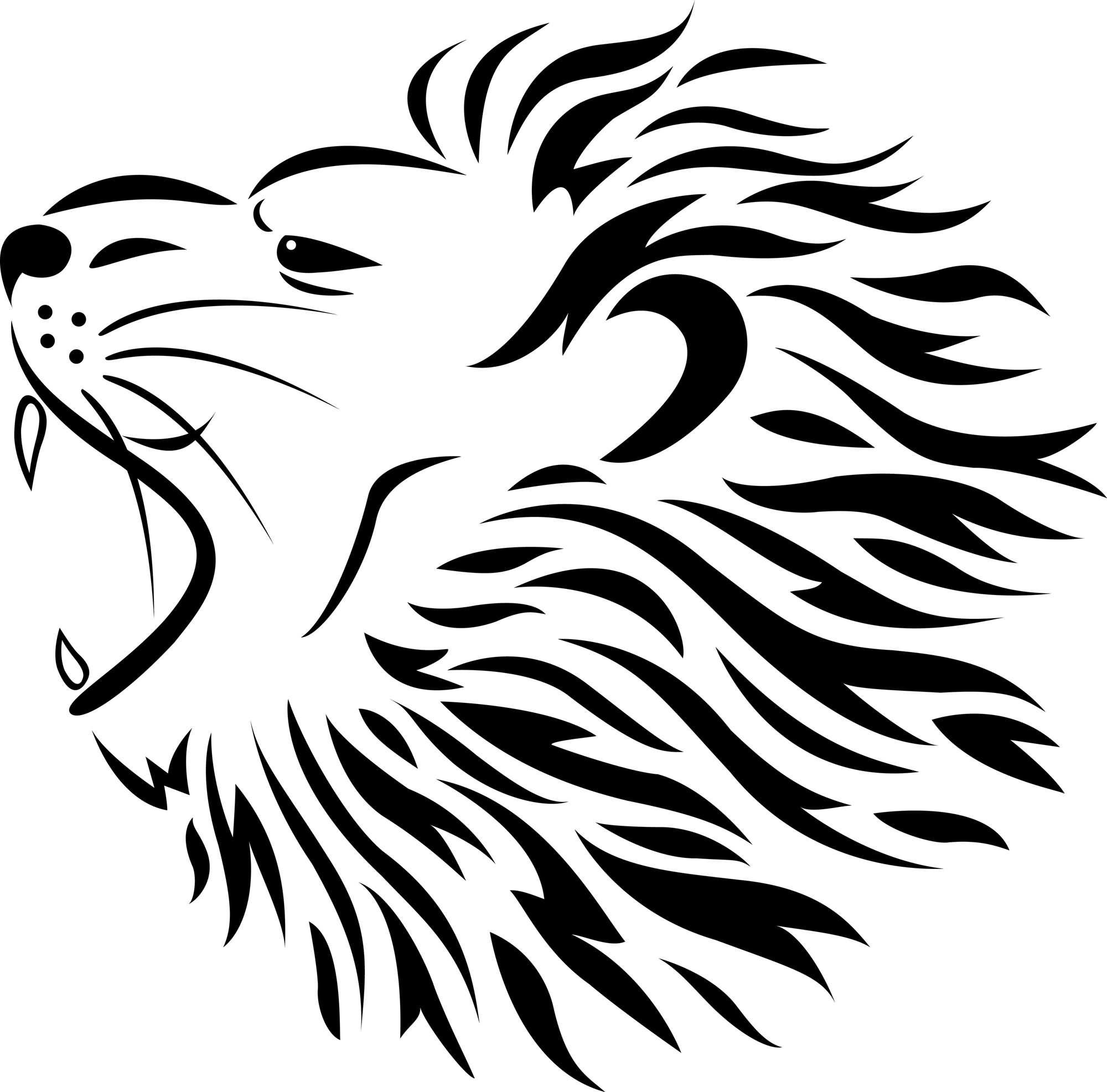 . PlusPng.com Lion Tattoo Black And White 6 Tribal Roaring Lion Head Tattoo Design  2.jpg PlusPng.com  - PNG Lion Head Roaring