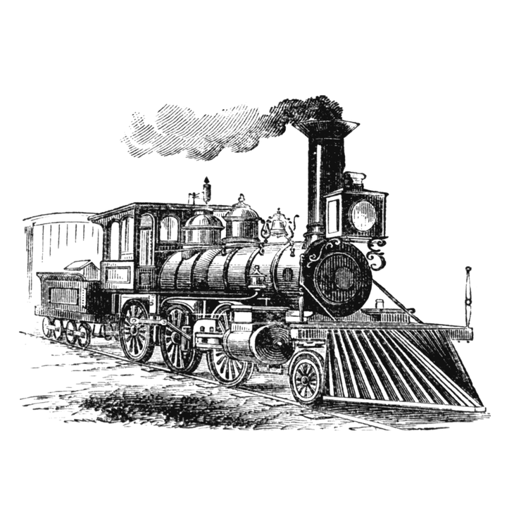 Jahrgang, Lokomotive, Zug, Zeichnung, Illustraiton - PNG Lokomotive