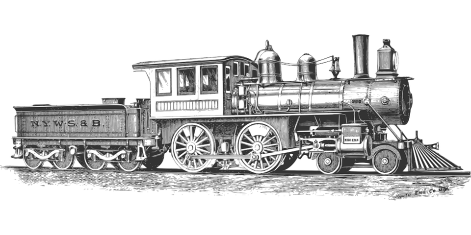 lokomotive monochrom eisenbahn dampflokomotive - PNG Lokomotive