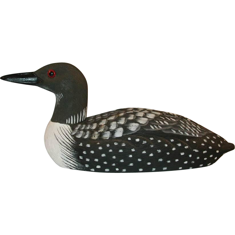 1985 American Wildlife Collection Common Loon After a carving by Joe  Revello Painted by B Hayes American Wildlife Collection from Craft-Tex Inc. - PNG Loon