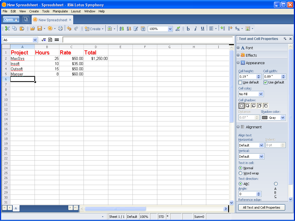 Taking a look at IBM Lotus Symphony Spreadsheets - Page 4 - TechRepublic - PNG Lotus Symphony