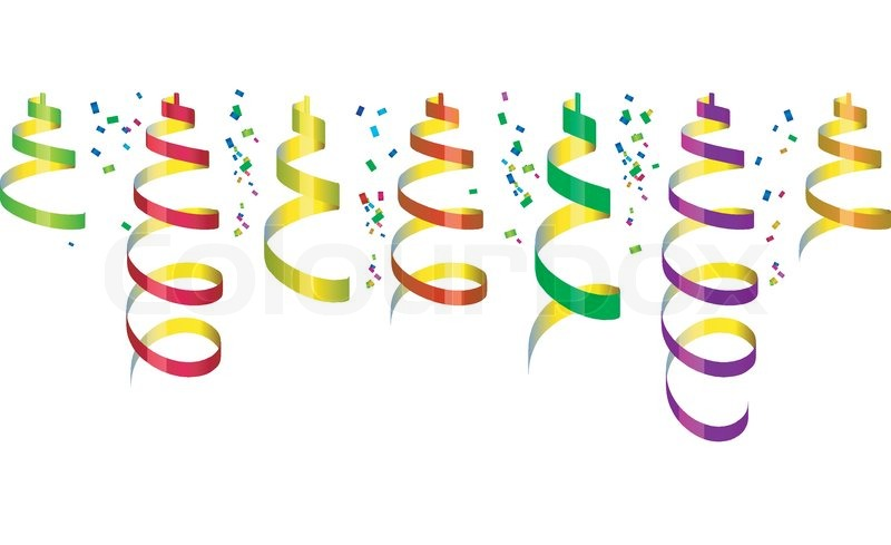 Background with party streamers and confetti vector illustration stock  vector colourbox - PNG Luftschlangen Konfetti