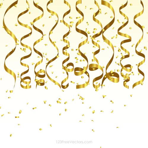 Goldene luftschlangen und Konfetti - PNG Luftschlangen Konfetti