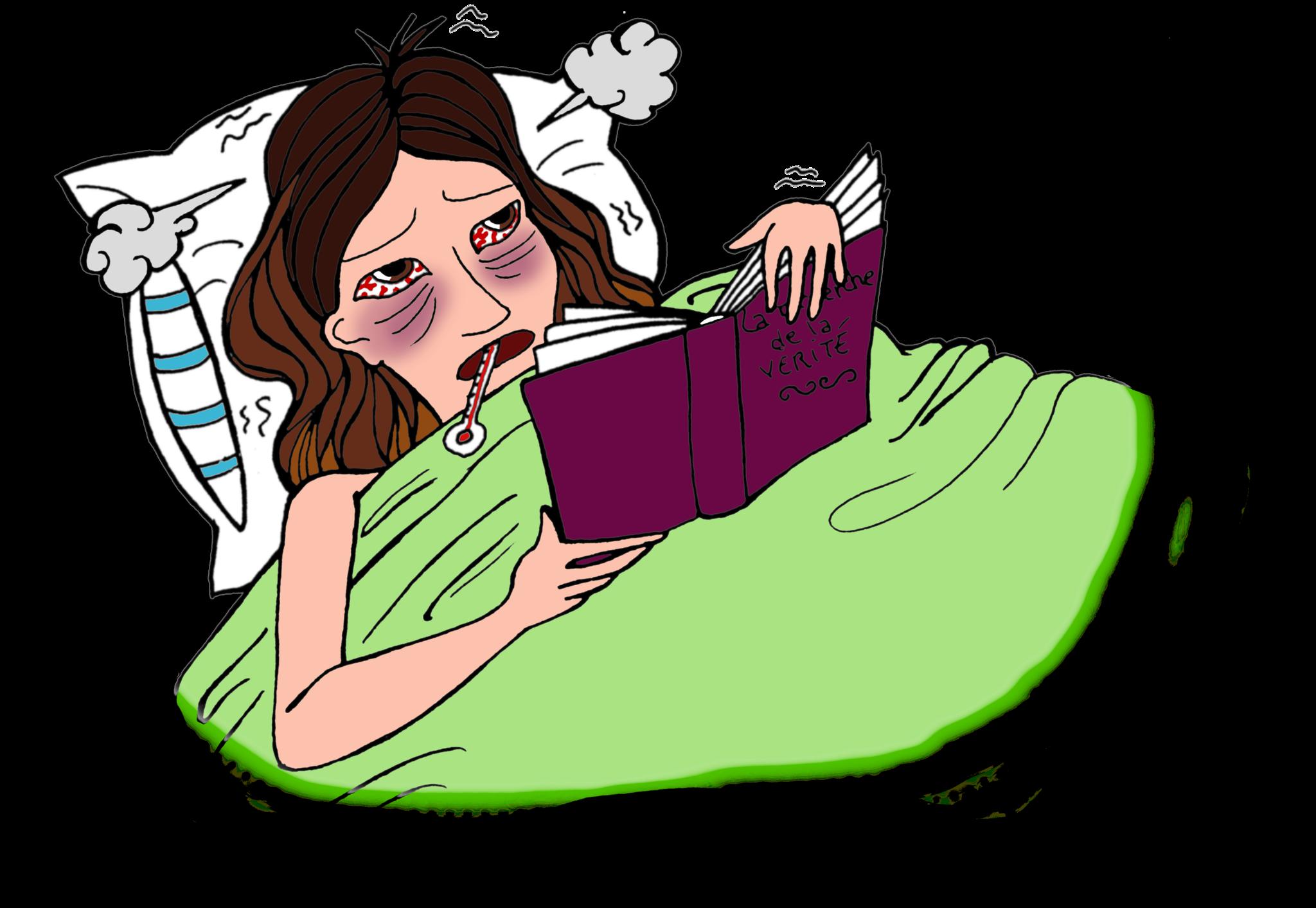 Malheureusement je suis malade aujourdu0027hui. Je ne peux pas aller à  lu0027école:( Je suis clouée au lit toute la journée, je ne fais même pas rien  mangé. - PNG Malade
