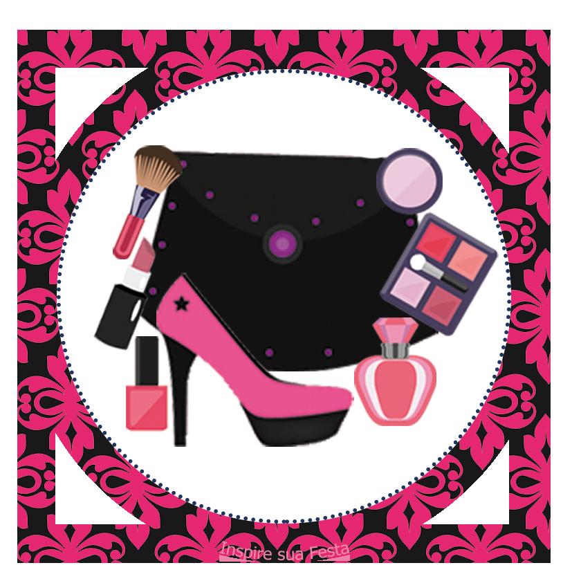 Tag ou topper para docinhos ou lembrancinhas - PNG Maquiagem