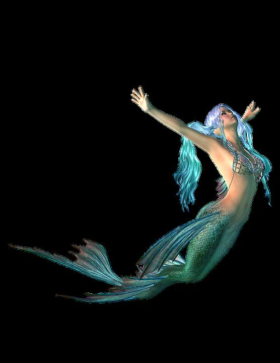 Mermaid, Png, Transparent Background, Fantasy, Blue - PNG Mermaid