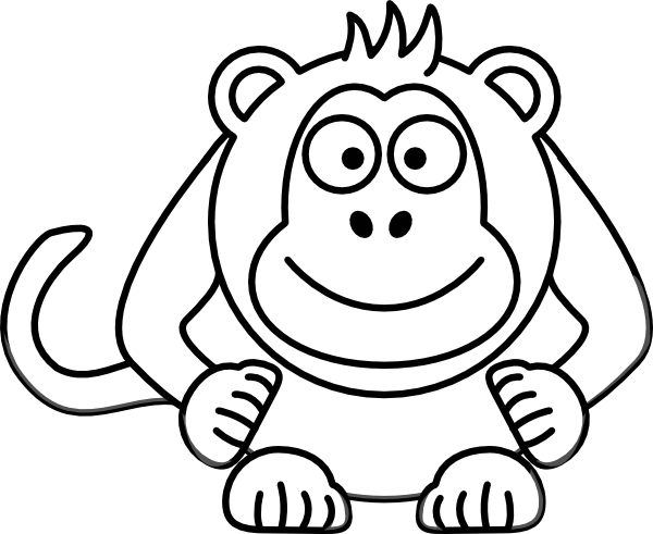 Black And White Cartoon Monkey Clip Art at Clker pluspng.com - vector clip art  online, royalty free u0026 public domain - PNG Monkey Black And White