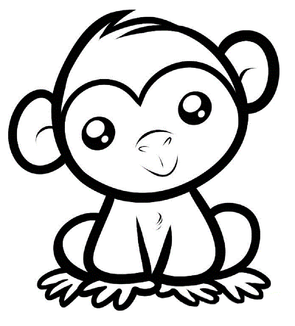 . PlusPng.com monkeys coloring pages PlusPng.com  - PNG Monkey Black And White