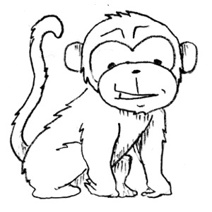 pin Year Of The Monkey clipart black and white #2 - PNG Monkey Black And White