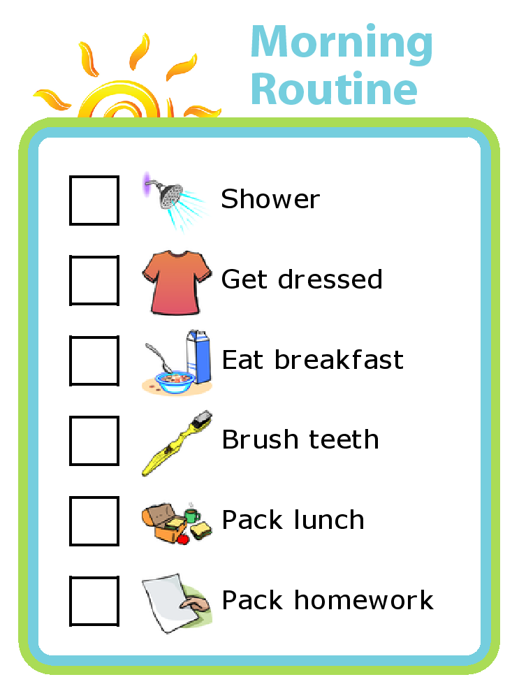 Get organized with this drag and drop morning routine checklist. The  pictures make it easy - PNG Morning Routine
