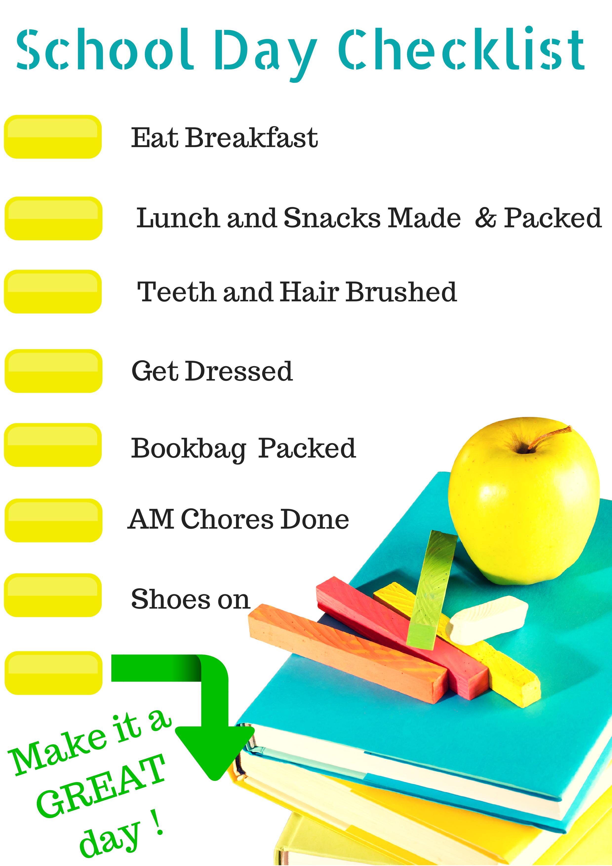 School Morning Routine Checklist Free Printable - Farmeru0027s Wife Rambles - PNG Morning Routine