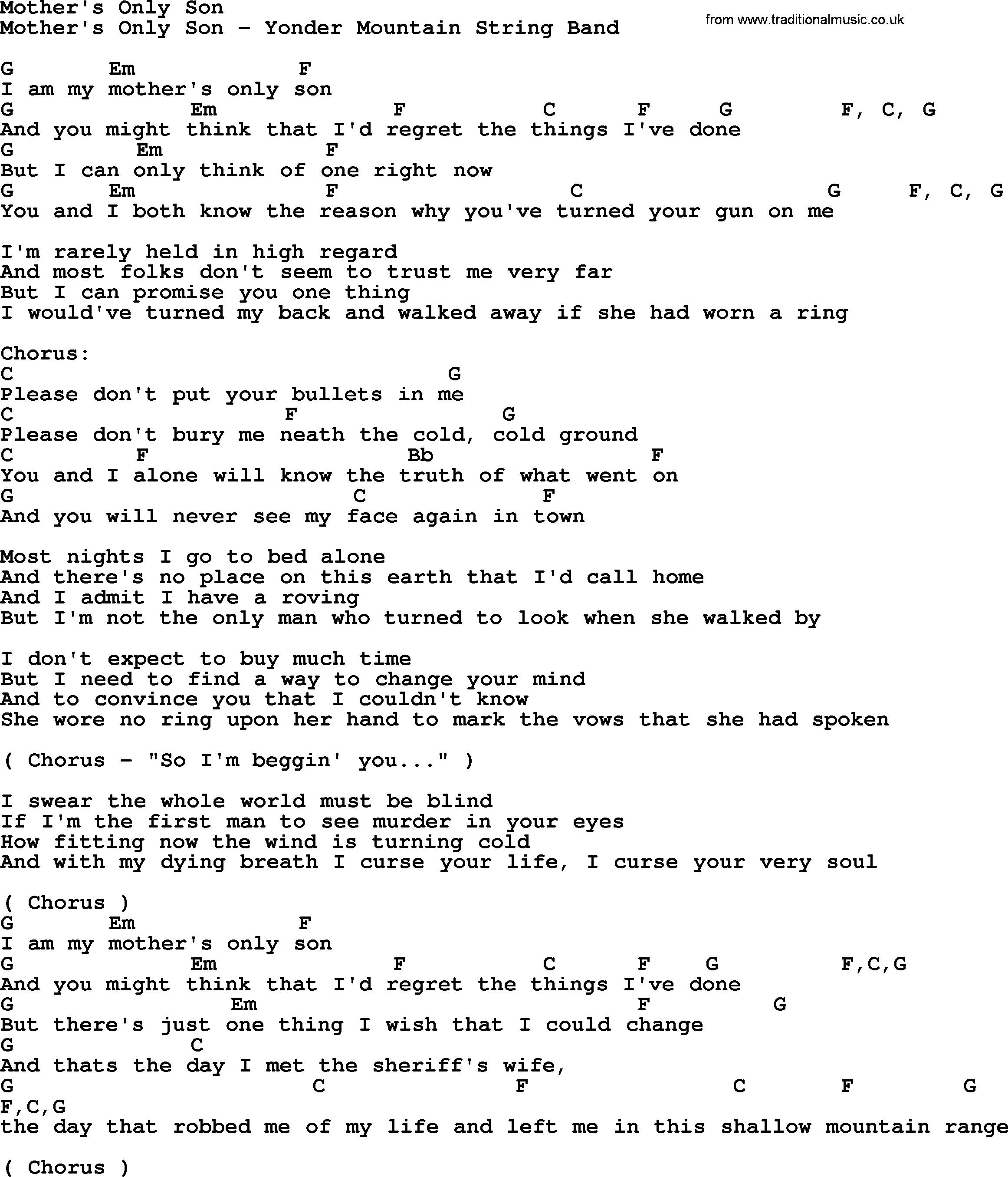 Bluegrass song: Motheru0027s
