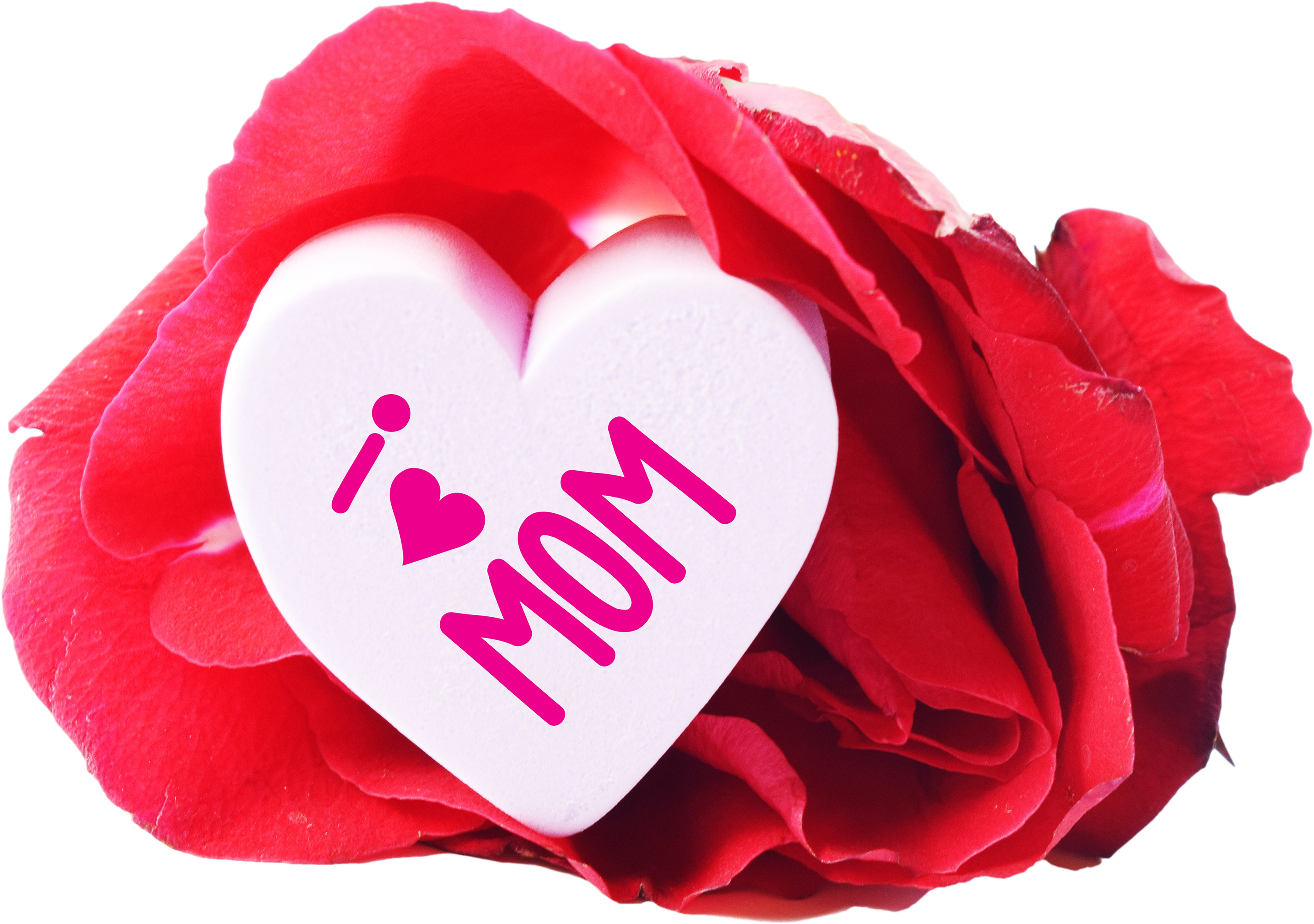 Free I Love Mom Heart And a Rose PNG Image - PNG Mother Only