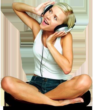 Chica Sentada Escuchando Música.png - PNG Mujer