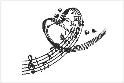 Muursticker muzieknoten in hartvorm - PNG Muzieknoten