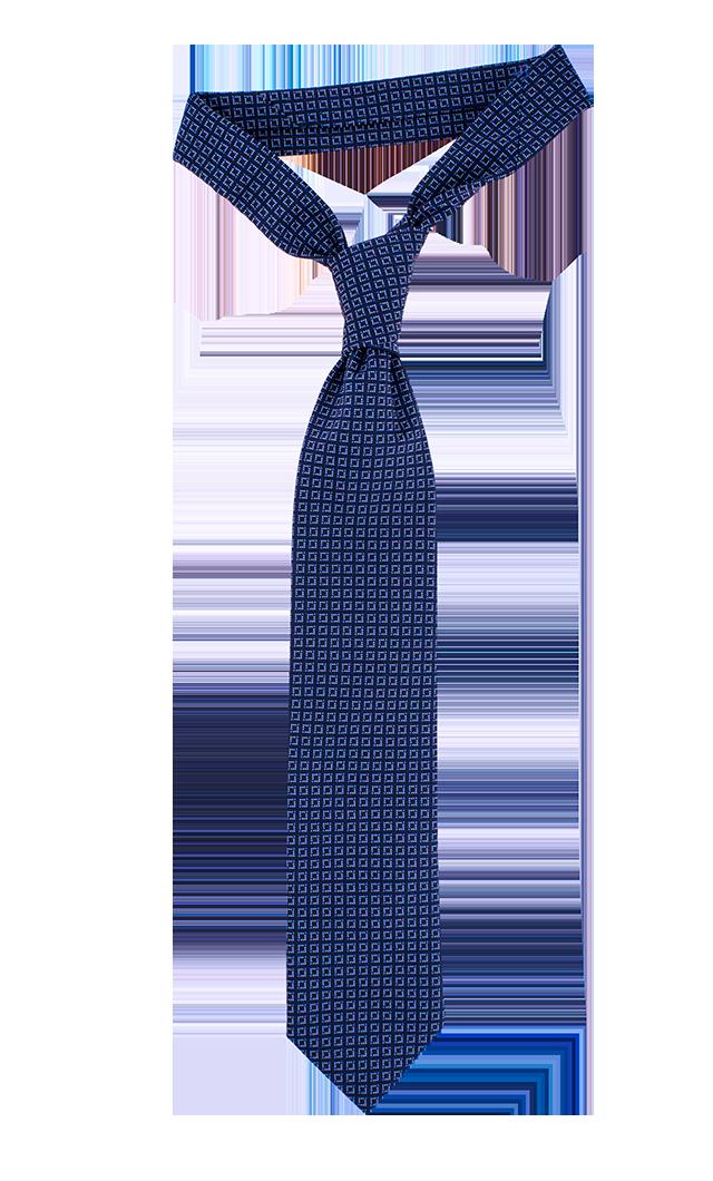 Navy and light blue check necktie - PNG Necktie