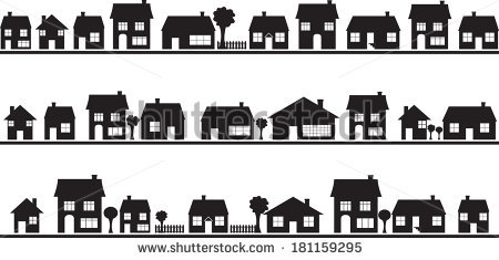 Neighborhood with homes illustrated on white - PNG Neighborhood