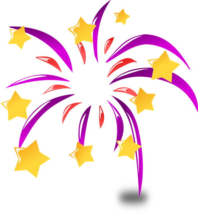 Neujahr, Feuerwerk, Ferien, Explosion, Farben, Sterne - PNG Neujahr