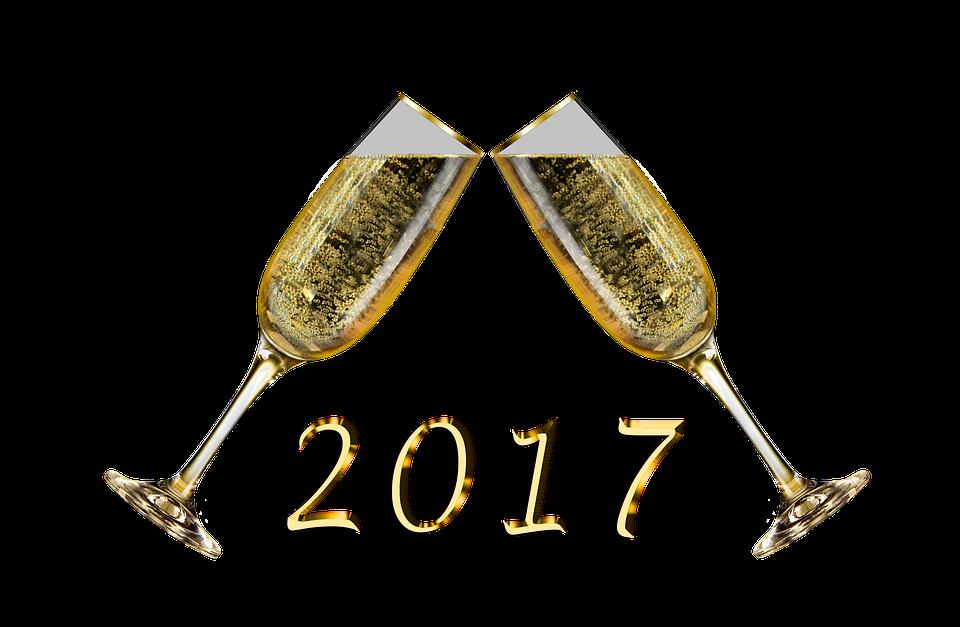 Sektgläser, Sekt, Sektglas, Silvester, 2017 - PNG Neujahr