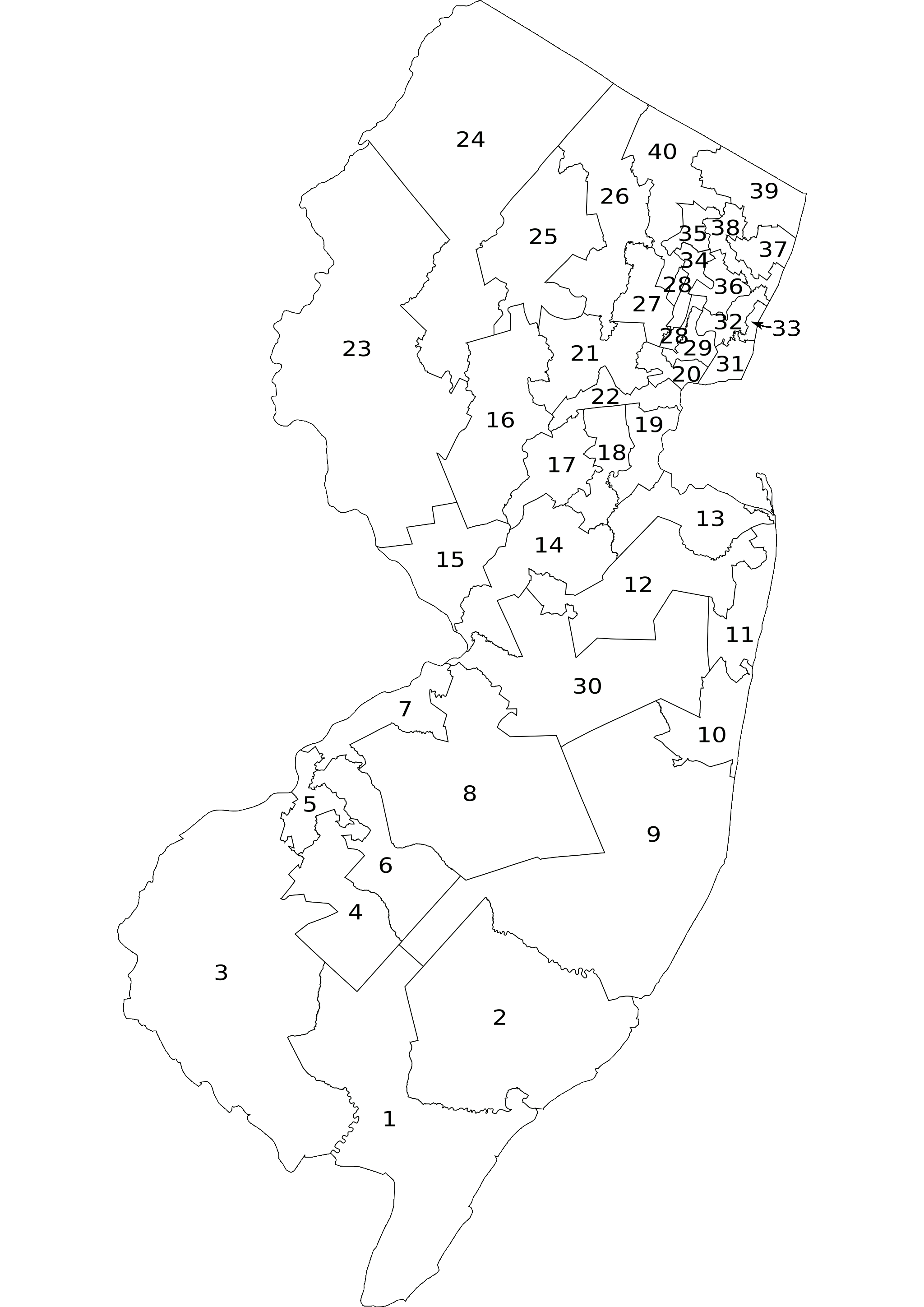 File:New Jersey Legislative Districts 2001 numbered.png - PNG New Jersey