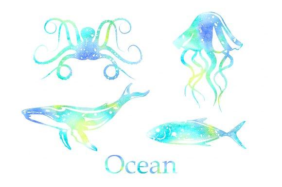 Ocean animals Watercolor PNG EPS - Illustrations - PNG Ocean Animals