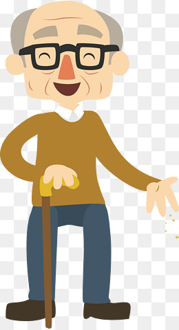 Happy old man, Grandpa, Take A Walk, Crutch PNG and Vector - PNG Old Man