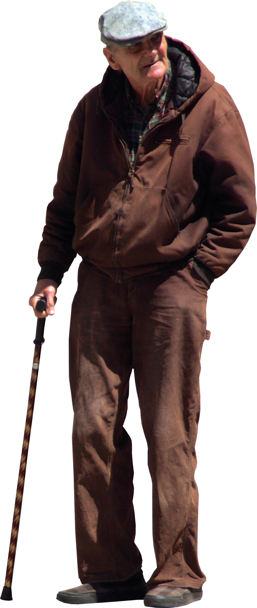 old man with walking stick and flat cap - PNG Old Man