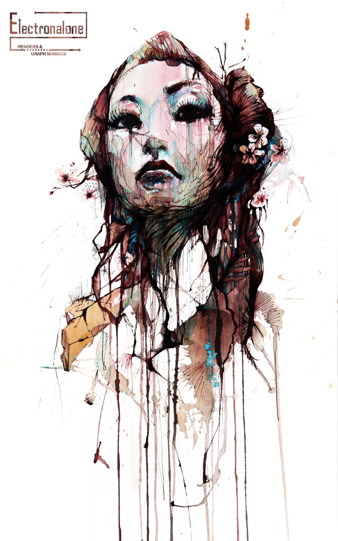 Render Filles/Femmes - Renders femme original fleur de cerisiers peinture  artiste plumes visage rouge - PNG Peintre Artiste