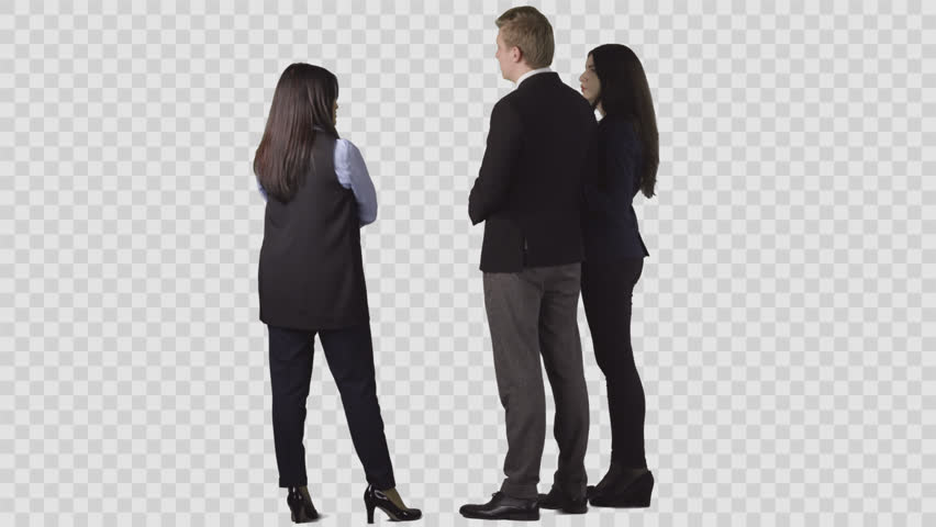 The seller in office clothes is standing near young couple, discussing.  Back view. - PNG People Working Office