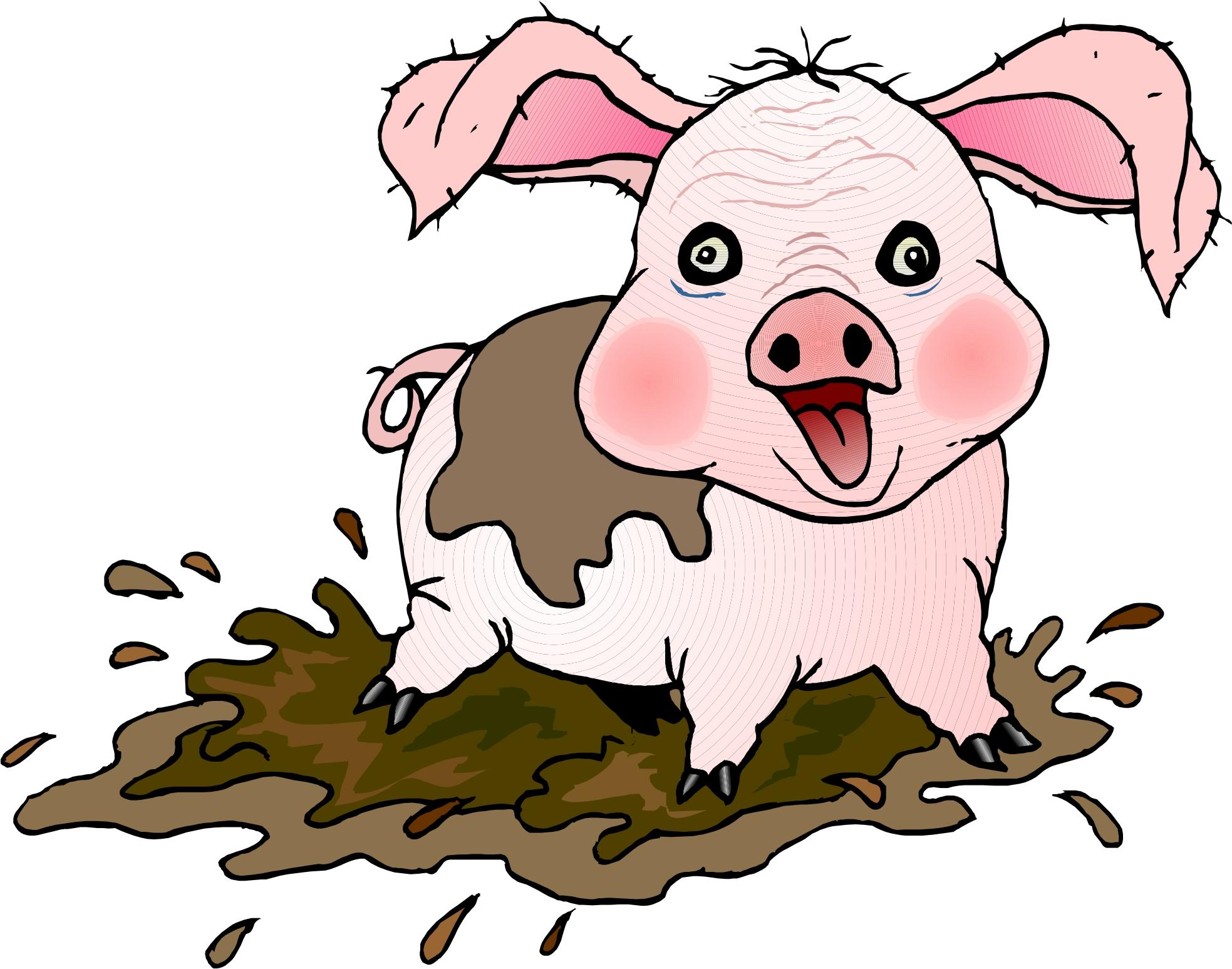 Cartoon Pig - PNG Pig In Mud
