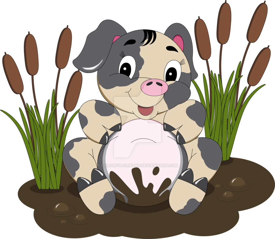 Mud Hole Pig Clipart by ColorfulClipart PlusPng.com  - PNG Pig In Mud