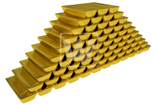 Gold Bars Stock Pile - PNG Pile