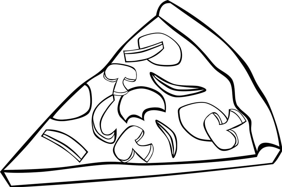 Free Stock Photos | Illustration of a slice of pizza with toppings - PNG Pizza Black And White